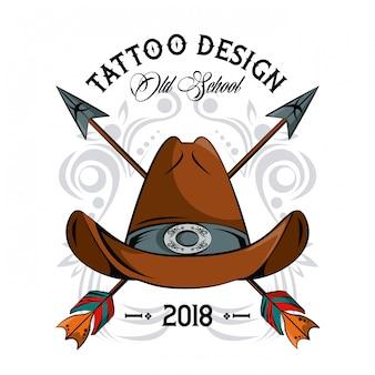 Tattoo-design mit alten schulzeichnungen