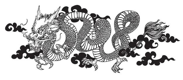 Tattoo kunst dargon fliege handzeichnung skizze schwarz und weiß