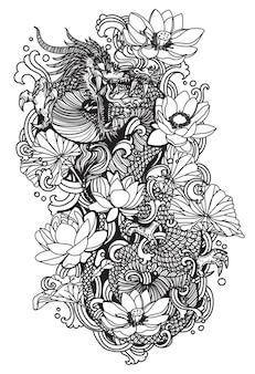 Tattoo-kunst-dargon-fliege und lotus-zeichnungsskizze schwarz und weiß