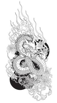 Tattoo kunst dargon handzeichnungsskizze schwarz und weiß