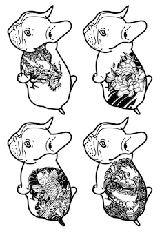 Tattoo kunst hund handzeichnung und skizze schwarz und weiß