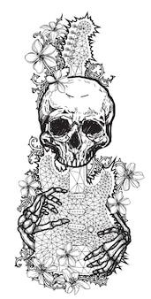 Tattoo-kunst-schädel-skizze blume und gitarre schwarz-weiß