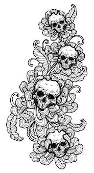 Tattoo kunst schädel und blume handzeichnung und skizze schwarz und weiß