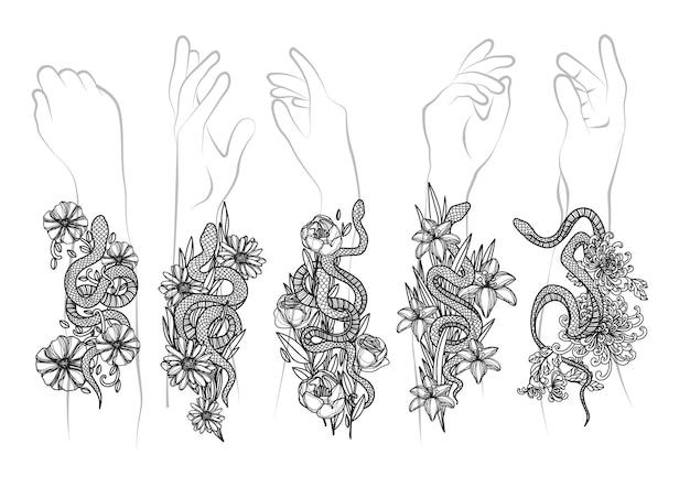 Tattoo-kunst schlange und blume zeichnen und skizzieren schwarz und weiß
