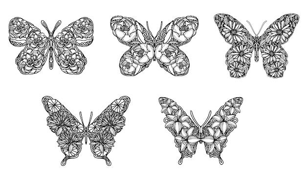 Tattoo kunst schmetterlingsskizze schwarz und weiß