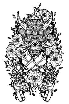Tattoo-kunst-teufelsgesicht in pistole und blumen auf weißem hintergrund.