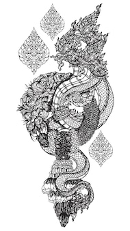 Tattoo kunst thai dargon handzeichnung und skizze schwarz und weiß
