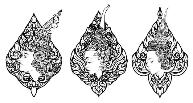 Tattoo-kunst-thai-frauen setzen blumenhandzeichnung und skizze schwarz und weiß