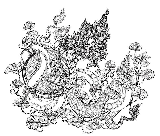 Tattoo kunst thailändische drachenblume handzeichnung und skizze schwarz und weiß