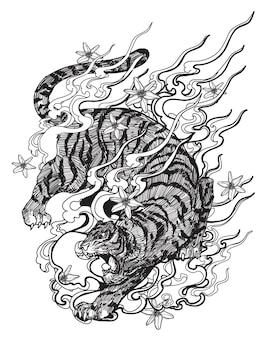 Tattoo kunst tiger handzeichnung und skizze schwarz und weiß