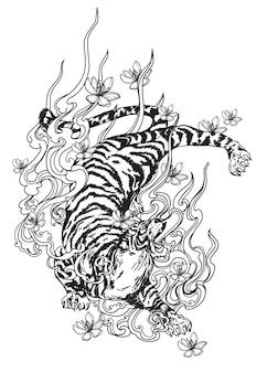 Tattoo kunst tiger und blumen handzeichnung und skizze schwarz und weiß