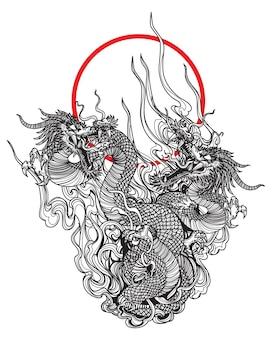 Tattoo kunst zwei dargon fliegen handzeichnungsskizze schwarz und weiß