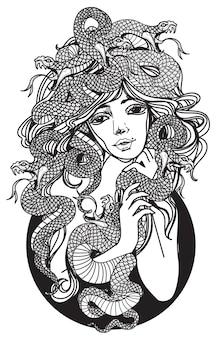 Tattoo-kunstfrauen und schlangenhandzeichnung und -skizze schwarz-weiß
