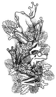 Tattoo-kunstfrösche, die sich mit blättern vermischen, zeichnen handzeichnungen und skizzieren schwarz und weiß