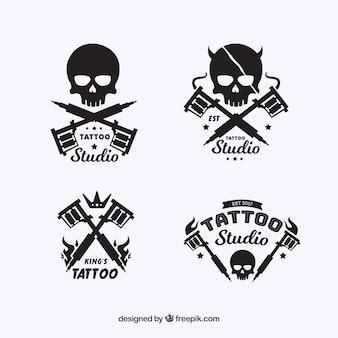 Tattoo-logo-kollektion mit schädel-design