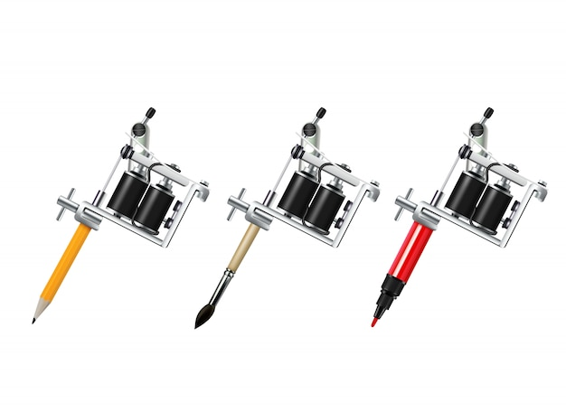 Tattoo machine drawing set