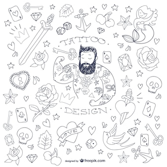 Tattoo-mann doodle symbole
