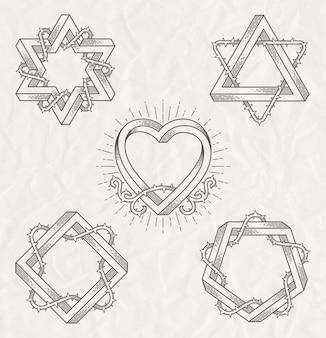 Tattoo-stil strichzeichnungen symbole mit unmöglicher form mit dornenzweigen - set