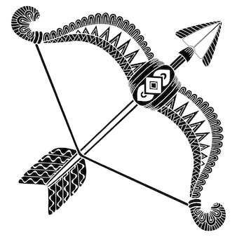 Tattoo-stil. vektorschattenbild der pfeile und des bogens lokalisiert auf weißem hintergrund. sternzeichen schütze. abstrakter hintergrund.