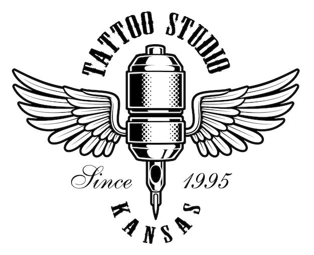 Tattoo studio emblem. weinleseillustration der tätowiermaschine mit flügeln. text befindet sich auf der separaten ebene.