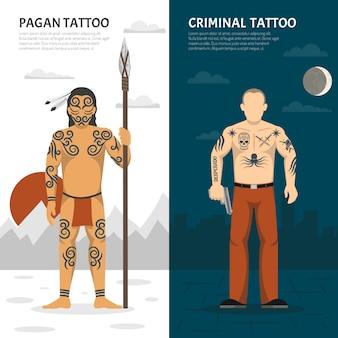 Tattoo studio vertical banner set