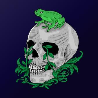 Tattoo und design hand gezeichnete schädel und frosch illustration