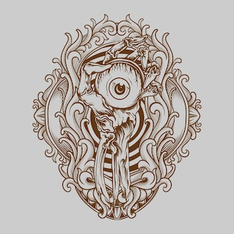 Tattoo und t-shirt design augapfel in skelett handgravur ornament