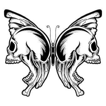 Tattoo und t-shirt design handgezeichnete schmetterling schädel premium