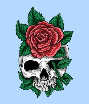 Tattoo und t-shirt design handgezeichneter schädel und rosen