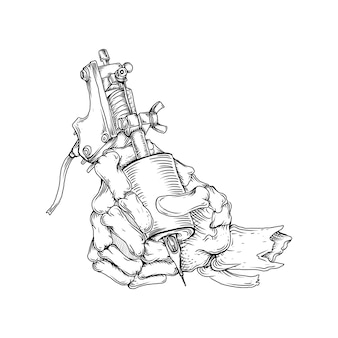 Tattoo und t-shirt design schwarz und weiß hand gezeichnete illustration skelett hand mit tattoo-tool