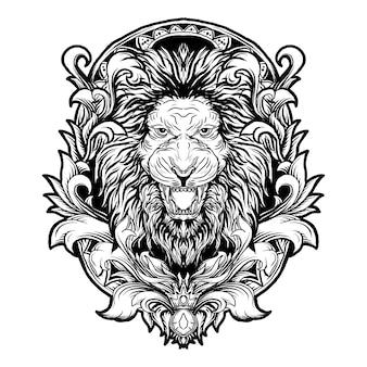 Tattoo und t-shirt design schwarz und weiß hand gezeichnete illustration