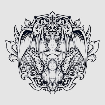 Tattoo und t-shirt design schwarz und weiß hand gezeichnete teufel und engel gravur ornament