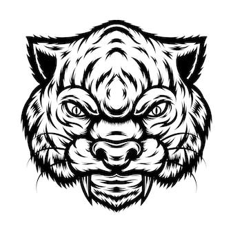 Tattoo und t-shirt design schwarz und weiß leopard gesicht