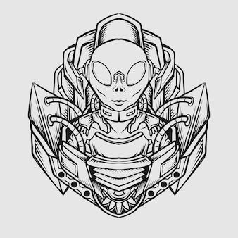 Tattoo- und t-shirt-design schwarz-weiß handgezeichnet alien
