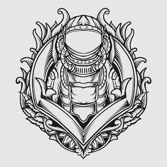 Tattoo und t-shirt design schwarz-weiß handgezeichnete astronauten gravur ornament