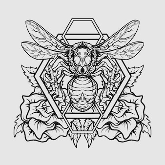 Tattoo und t-shirt design schwarz-weiß handgezeichnete biene und rose