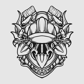 Tattoo und t-shirt design schwarz-weiß handgezeichnete tag der arbeit gravur ornament