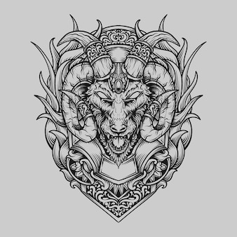 Tattoo und t-shirt design schwarz-weiß handgezeichnete ziegenkopf gravur ornament
