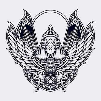 Tattoo und t-shirt design schwarzweiss hand gezeichnete illustration horus gravur ornament