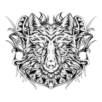 Tattoo und t-shirt design schwarzweiss hand gezeichnete illustration wolfskopf gravur ornament