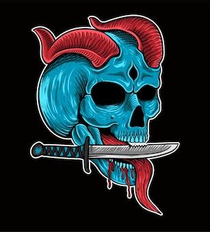 Tattoo und t-shirt design skelett kinfe canibal