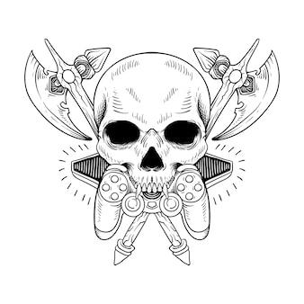 Tattoo und t-shirt design totenkopf mit waffe und spiel strichzeichnungen schwarz und weiß
