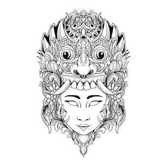 Tattoo und t-shirt rangda und frau