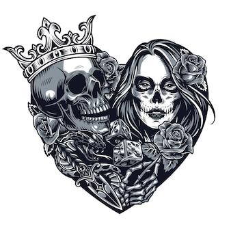Tattoo-vorlage im chicano-stil
