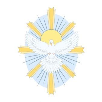 Taube des heiligen geistes mit lichtern
