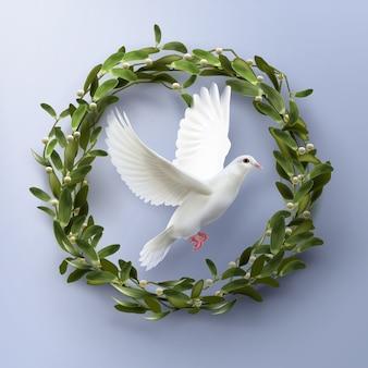 Taube fliegt in kranz. konzept leben und frieden symbol auf blauem hintergrund