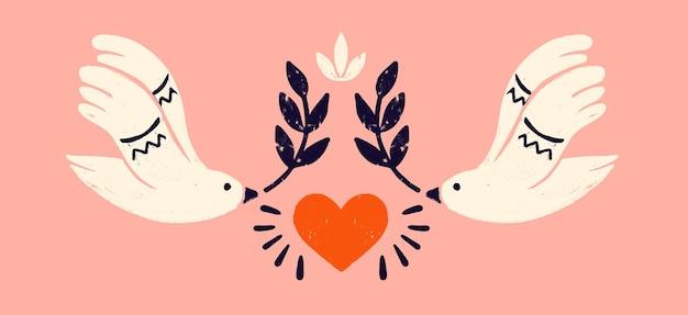 Taube mit einem olivenzweig ein symbol des friedens