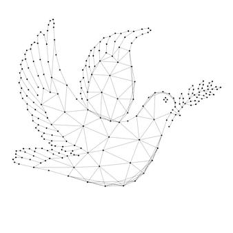 Taube mit zweig - symbol des internationalen friedenstages, aus abstrakten futuristischen polygonalen schwarzen linien und punkten.