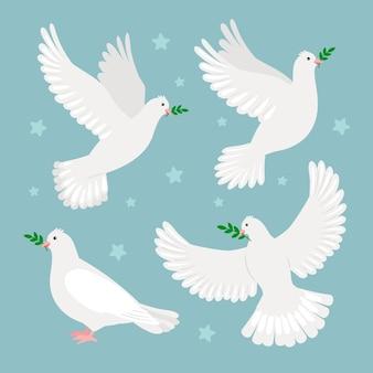 Tauben mit olivenzweig. konzept des internationalen friedenstages, symbol für weihnachten oder hochzeit, vektorillustration von tauben der hoffnung einzeln auf blauem hintergrund