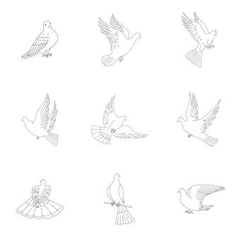 Taubenvektorsatz. einfache taubenformillustration, bearbeitbare elemente, kann im logodesign verwendet werden